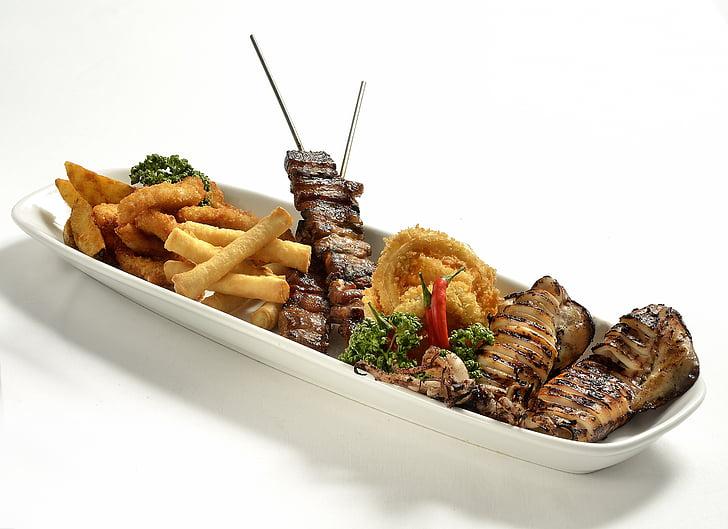thịt nướng, đĩa thức ăn, phù hợp với bia, nướng, thịt, BBQ, Bữa ăn