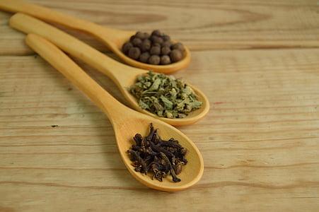 スパイス, スプーン, 木材, アプローチ, 詳細, テーブル, コショウ