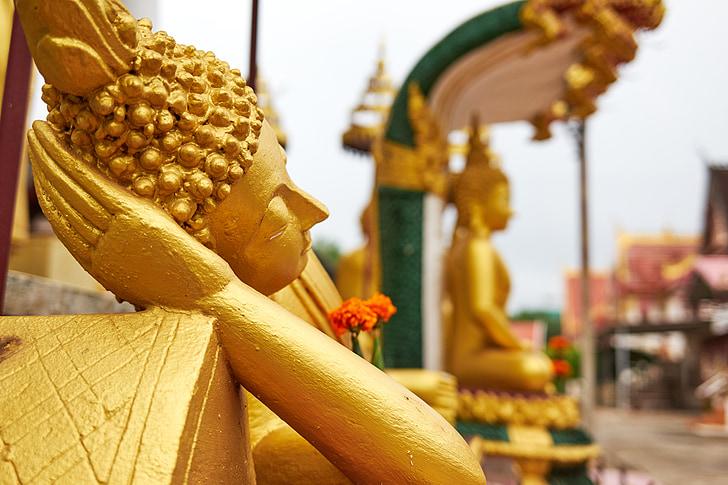 Buda, para dormir, la mentira, resto, Templo de, religión, Laos