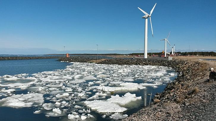 tuuleveski, jää, hailuoto, turbiini, tuuliku, generaator, keskkond