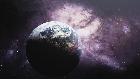 cosmos, planeta terra, planeta, estrelles, terra, globus, planeta - espai