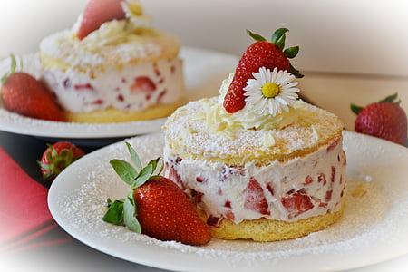 jagode, Strawberry Kolač od biskvit testa, jagode torta, bisquit, sladica, krema, torto