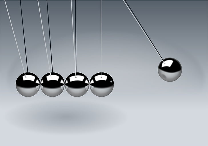 newton's cradle, balls, sphere, action, reaction, illustration, pendulum