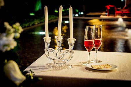 vakariņas, vīns, mīlu, tosts, persona, romantisks, Burāšana