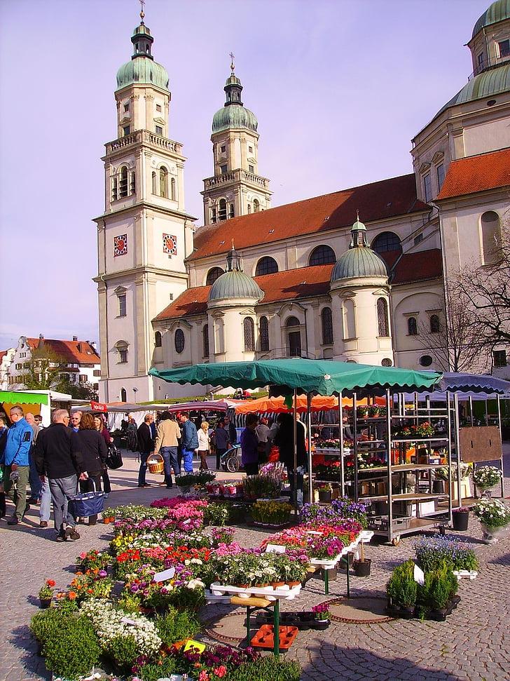 Kempten, mercat local de grangers, mercat, paradeta, estands, estand, l'església