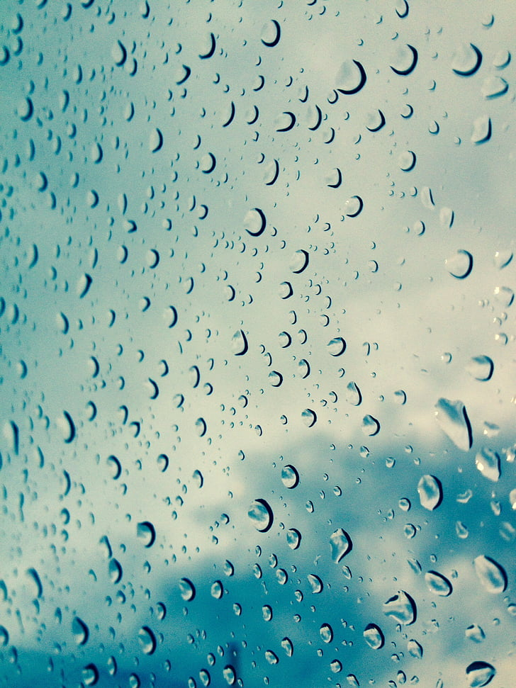 drop, dråber, vand, regner, blå