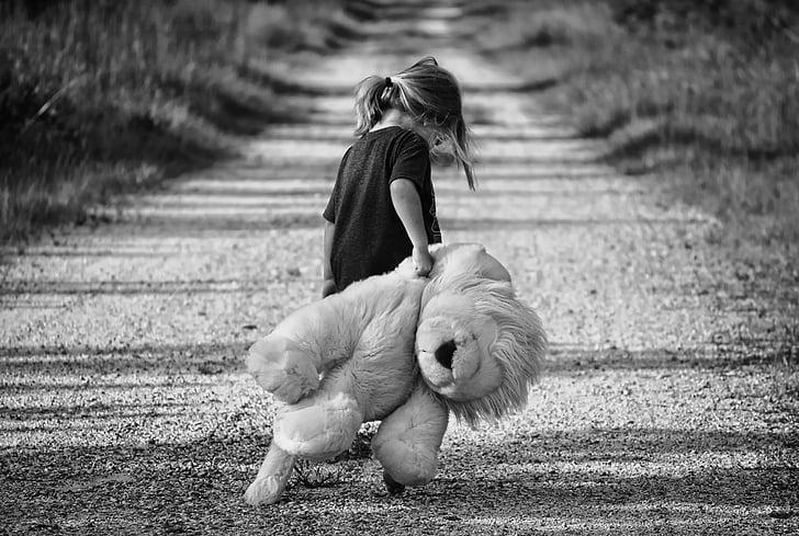 Poika, kävely, Nalle, lapsi, kävellä, nainen, Iloinen