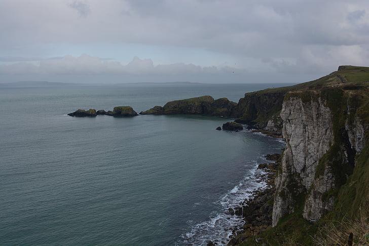Mar, roques, costa rocosa, Irlanda del nord, natura, Costa