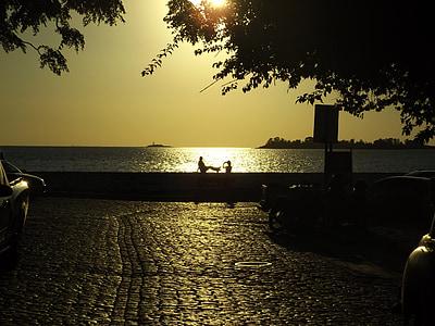 posta de sol, parella, llum de fons, l'amor, oceà, l'amistat, veient la posta de sol