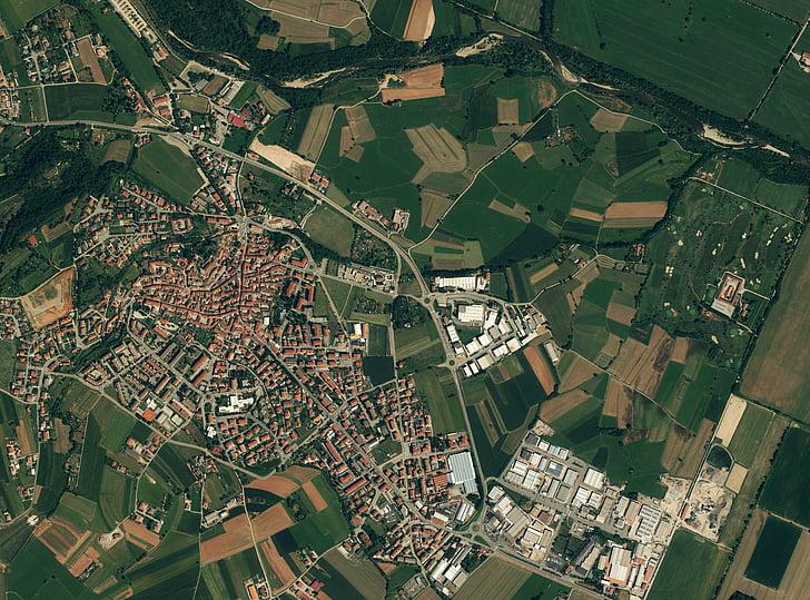 passar per alt, foto per satèl·lit, ciutat europea, Pla