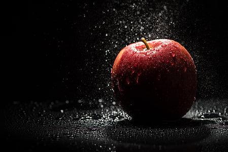 jabuka, Crveni, Crna, bljesak, voće, zdrava ishrana, jabuka - voće