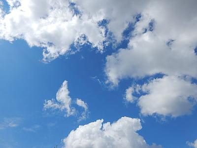 chmury, błękitne niebo, letnie niebo, Latem, niebo, niebieski, Natura