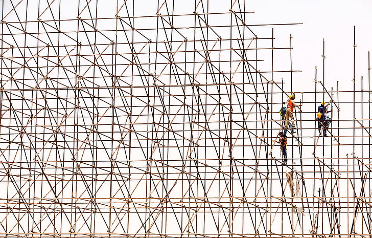 scaffolding, workers, construction, site, scaffold, structure, construction site