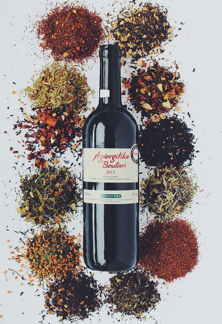 вино, дегустация на вино, бутилка, червено вино, подправки, дегустация бележки, букет
