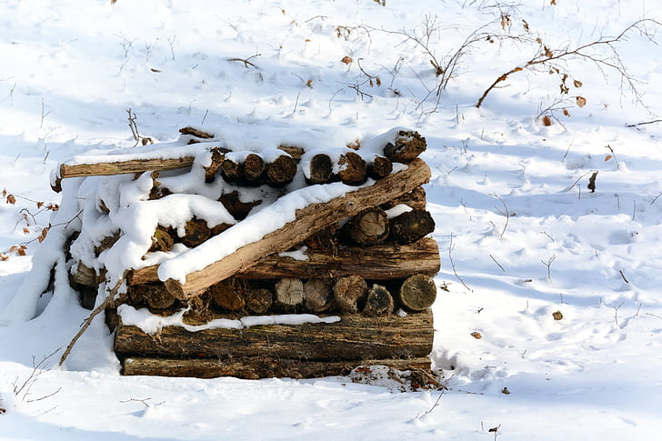 winter, snow, wood, heat, firewood, pile of wood, snowy
