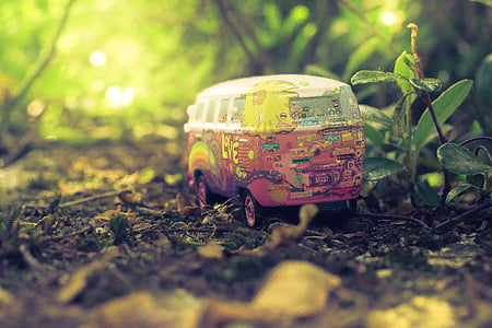 makro, miniaturowe, rośliny, gleby, Zabawka, Samochodzik, Volkswagen