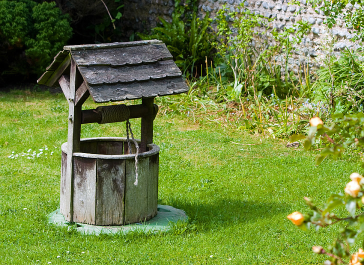 wishing well, well, old, wood, wooden, garden, green
