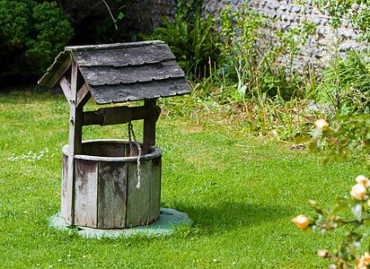 ウィッシングウェル, まぁ, 古い, 木材, 木製, ガーデン, グリーン