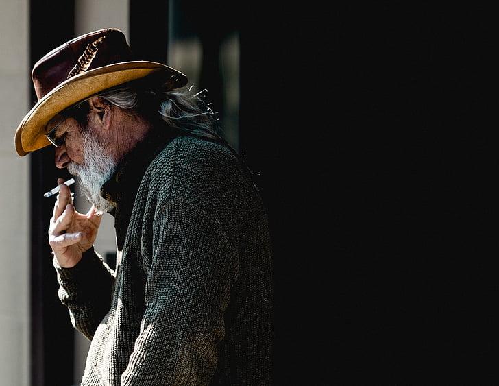 people, man, old, beard, smoke, cigarette, one man only