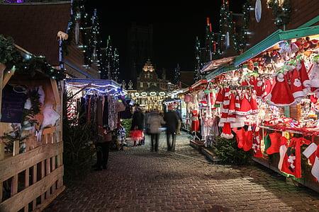 Julmarknad, Shop, dekoration, ljus, glögg, varm choklad, natt