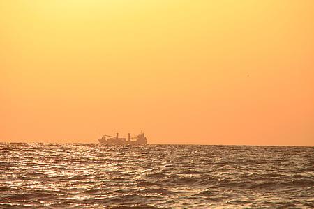Mar Negre, embarcacions, d'or, paisatge, sobre, Mar, vaixells