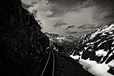 grayscale, photography, rail, road, middle, tall, ice