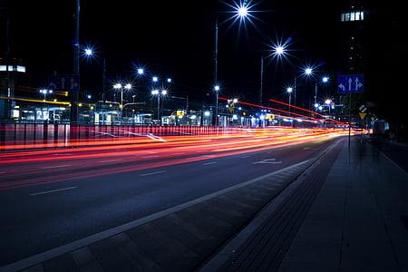 entelar, cotxes, ciutat, desplaçaments, fosc, Centre, nit