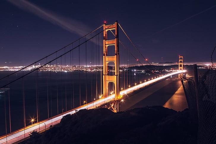 architecture, bridge, city, road, suspension bridge, urban, water