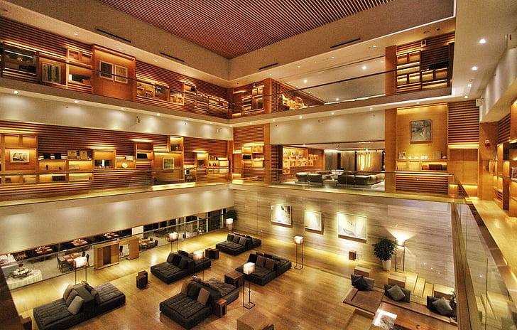 Hotel, fuajees, kaasaegne, siseruumides, arhitektuur