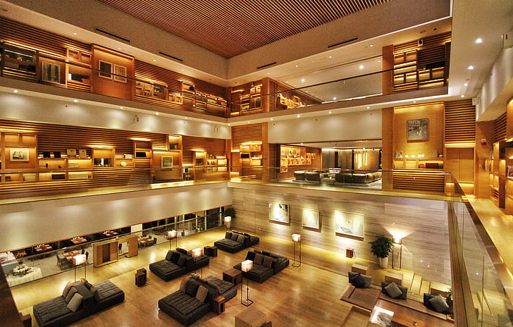Hotel, u predvorju, moderne, u zatvorenom prostoru, arhitektura