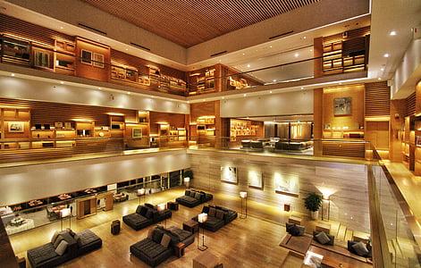 โรงแรม, ล็อบบี้, ทันสมัย, ในที่ร่ม, สถาปัตยกรรม