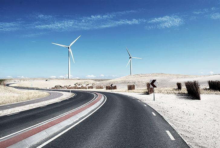 asfalt, blauwe hemel, bochtige, woestijn, Desktop achtergronden, elektriciteit, energie