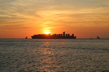 moln, Ocean, havet, fartyg, Sky, solen, soluppgång