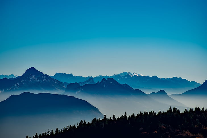 França, muntanyes, boira, boira, Alba, bosc, arbres