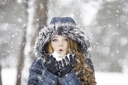 ฤดูหนาว, สาวผมแดง, หญิง, แนวตั้ง, เย็น, สาว, กลางแจ้ง