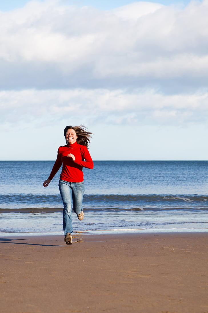beach, female, fit, fitness, fun, girl, happy