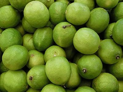 Laima, citrusaugļu, augļi, augļi, zaļa, skābs, citroni