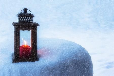 lanterne, stearinlys, lys, humør, Candlelight, Romance, sne