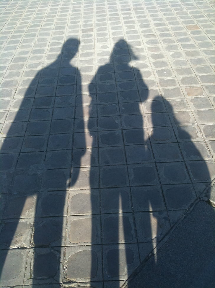 shadow, family, grey, sunlight, focus on shadow, day, high angle view