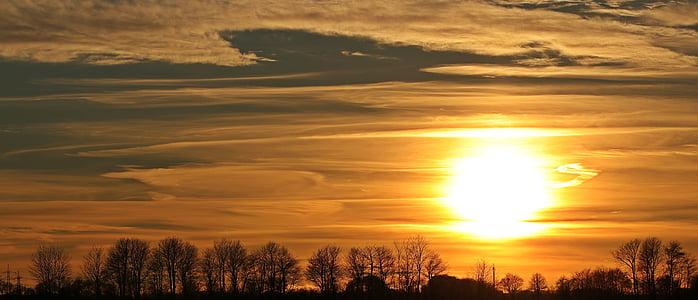 solnedgång, solen, kvällshimmel, moln, abendstimmung, nedgående solen, Panorama