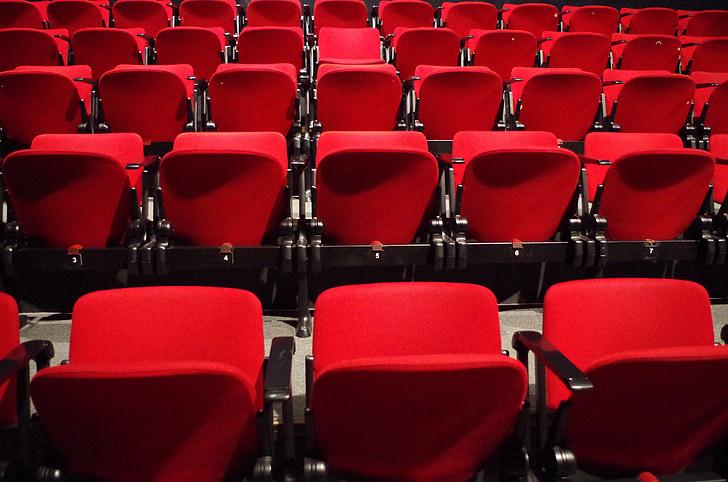 劇場, 席, 赤, 文化, 椅子, 座席, 行の