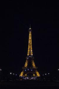 Eiffel, Torre, París, nit, temps, París França, arquitectura
