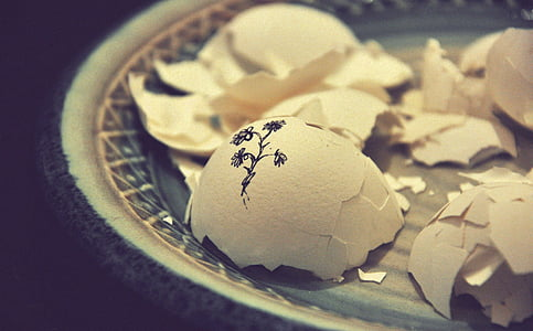 アート, ぼかし, 壊した, 壊れた卵, セラミック プレート, クローズ アップ, ひびの入った