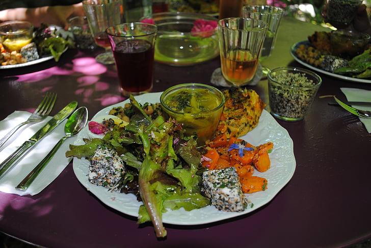 vegetarische maaltijd, vegetarische gastronomische maaltijd, Tuin van de sambucs