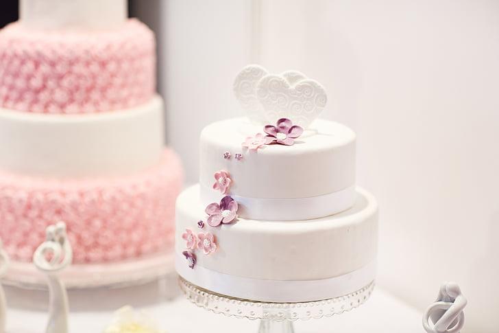 Pastís de noces, debutar, pastís, Coca blanca, pastís Rosa, casament, postres