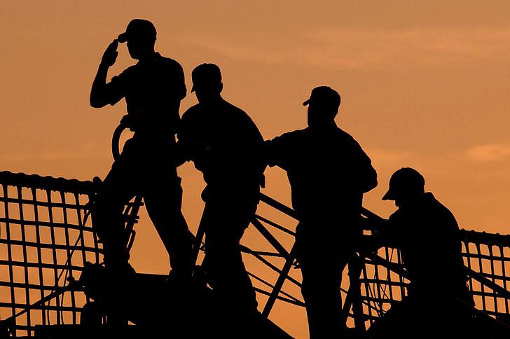marins, Conseil d'administration, navire, Salute, silhouettes, bateau, bateau