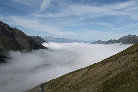 bulutlar deniz, gökyüzü, dağ, Pyrénées, manzara, doğa, dağlar
