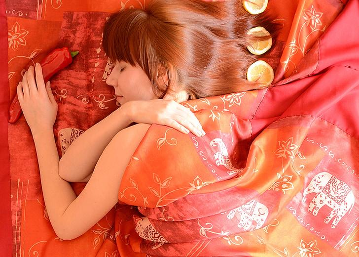 model, krása, žena, samica, portrét, posteľ, spí