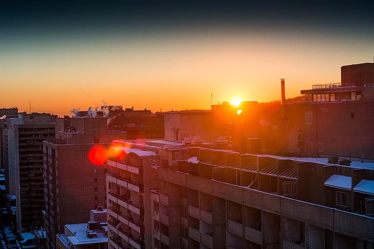 sunset, sun, sky, glow, orange, city, urban