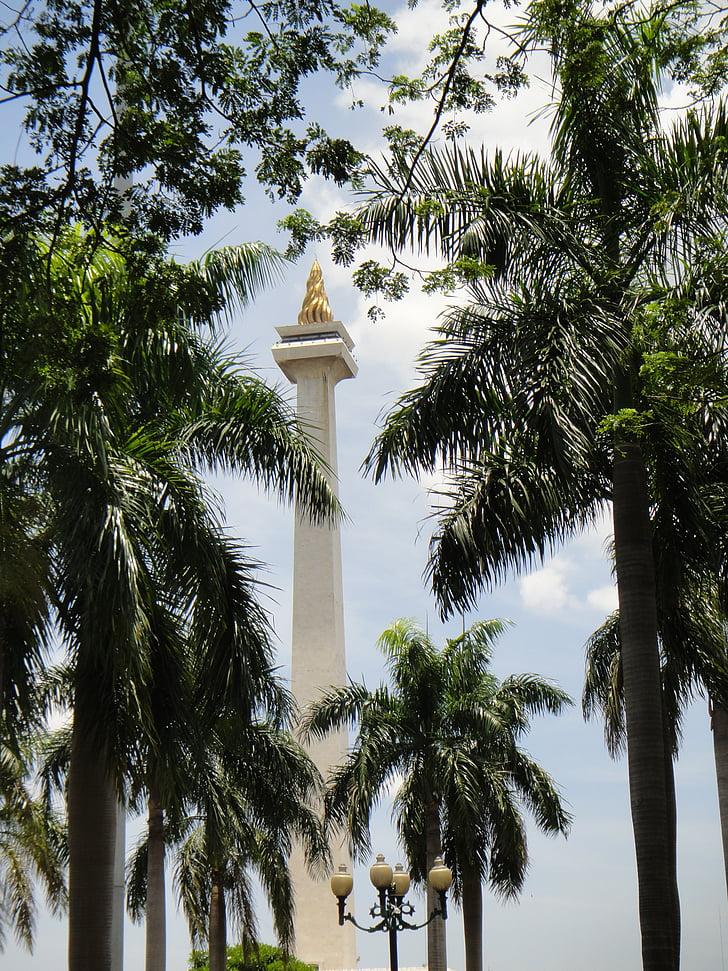 jakarta, indonesia, national, monument, cityscape, green, history